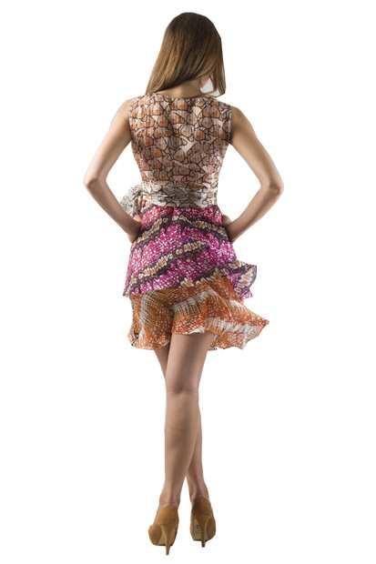 shortmultidressdressback, Eki Orleans silk african print dress