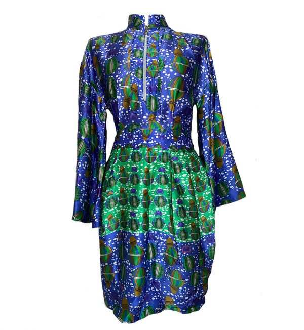 Blue printed mini dress