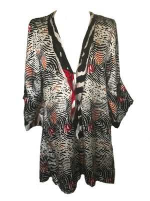 African print playsuit, black, fingerprint pattern, Eki silk
