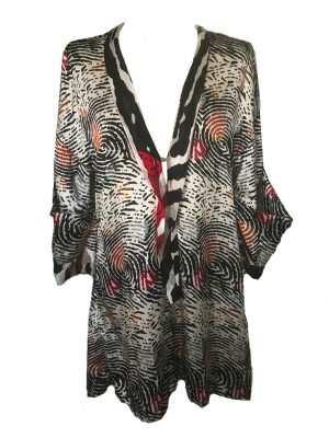 African print playsuit, black, fingerprint pattern, Eki silk