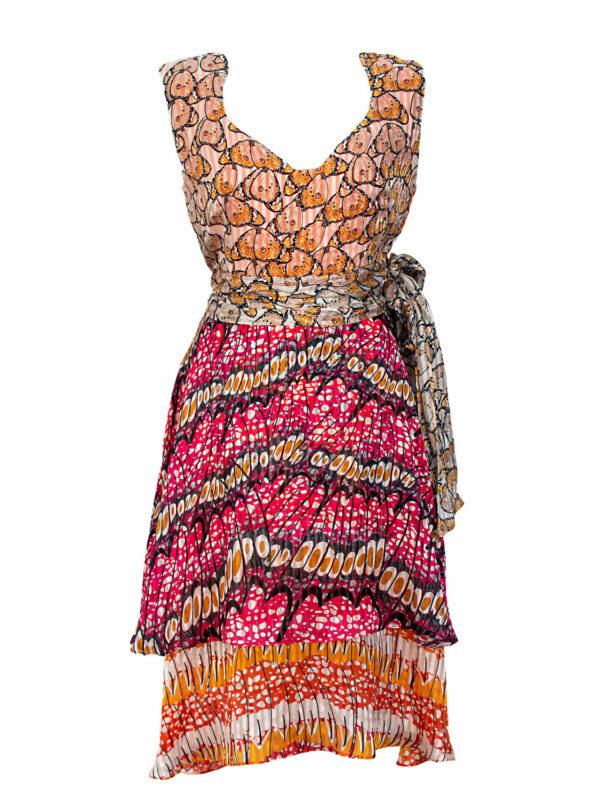 pink and orange silk dress