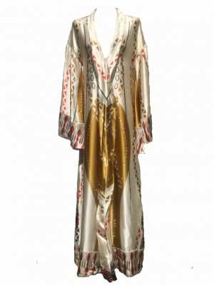 Eki silk kaftan with gold and red prints, silk kaftan, african silk