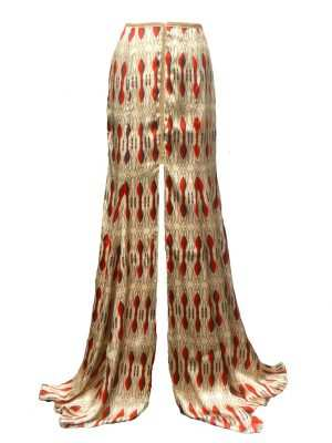 Eki silk maxi skirt with red designs and slit, African silk skirt