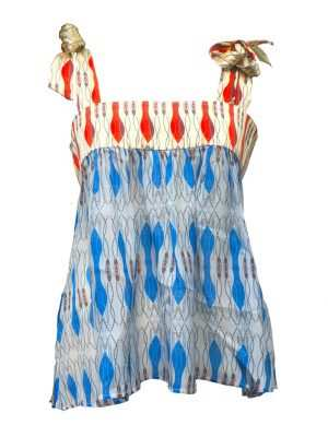 Silk african strapless blouse, blue and red, Eki blouse