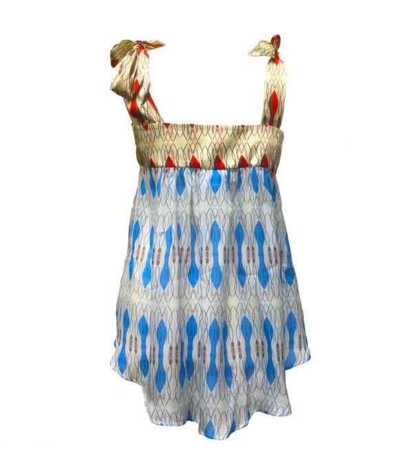 Eki silk blouse with straps, blue and red silk blouse, eki silk