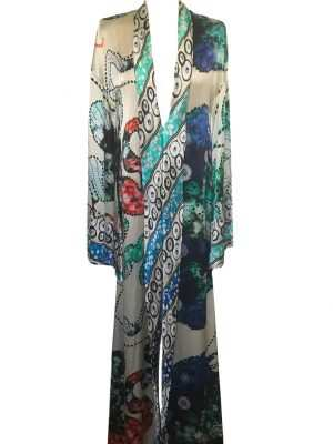 African print, blue, multicoloured, Eki silk kaftan, maxi dress