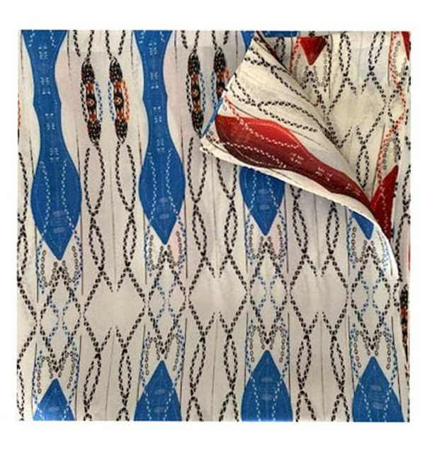 African silk blue and red printed pocket square by EKI