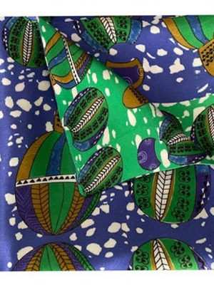 African silk blue printed pocket square by EKI