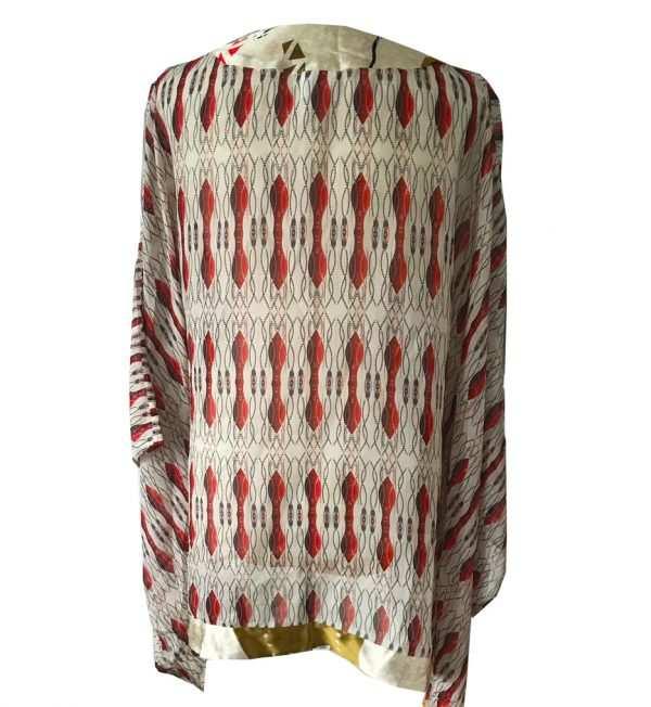 silk printed red kaftan blouse, printed african silk, Eki silk