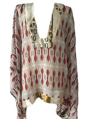 silk printed red kaftan blouse, printed african silk, Eki silk
