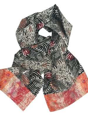 African print Eki silk scarf, black and pink