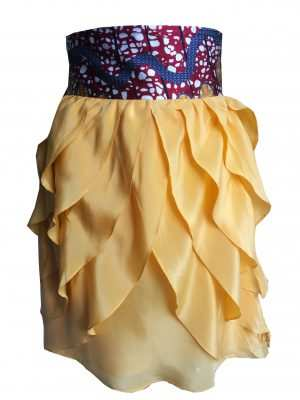 Eki Orleans frilly canary silk sustainable skirt