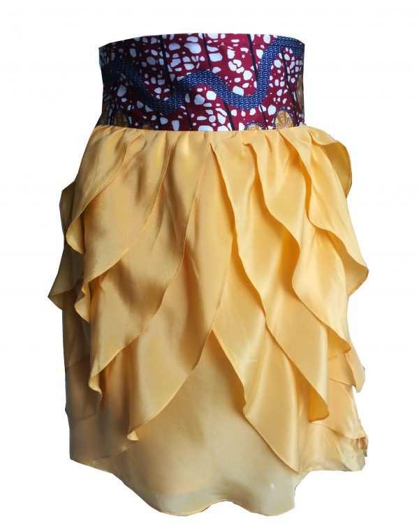 Eki Orleans frilly canary silk sustainable skirt
