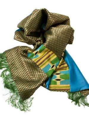 African print, Kente scarves, blue, yellow and green, Eki silk