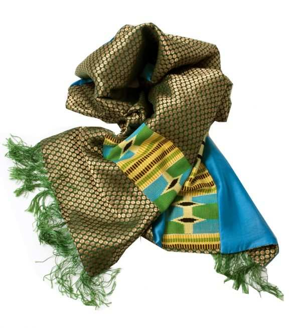 African print, Kente scarves, blue, yellow and green, Eki silk