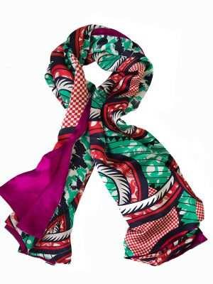 Luxury printed scarf, African print, pink and green, ocean, Eki silk