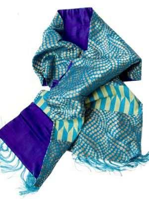 Luxury printed silk scarf, African print, blue and indigo, Eki silk