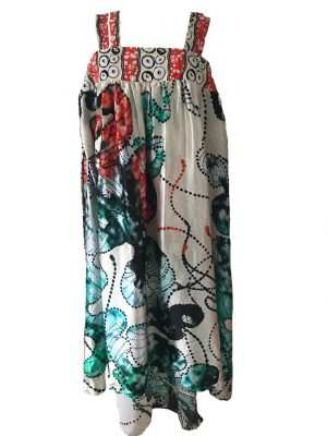 African print, silk strap printed dress, oceanic printed silk dress, summer silk dress, Eki silk