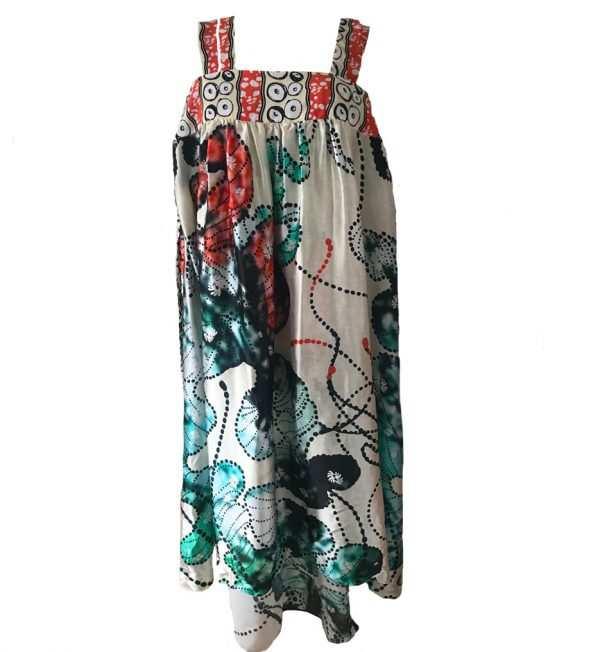 African print, silk strap printed dress, oceanic printed silk dress, summer silk dress, Eki silk