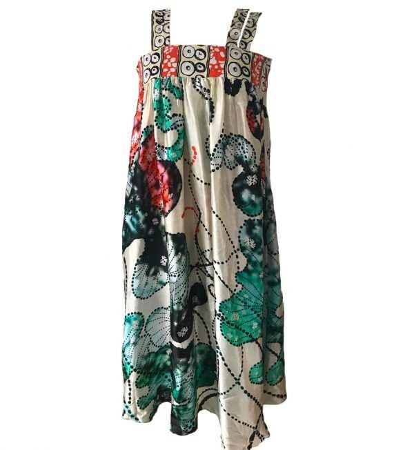 African print, Eki Silk strap printed dress, oceanic printed silk dress, summer silk dress