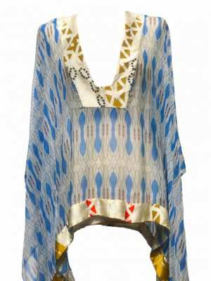 African silk blouse, Eki silk, Silk printed blue chiffon blouse