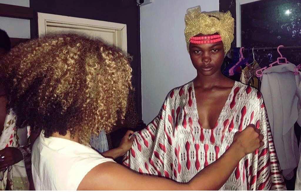 Eki dressing nigerian model at lagos fashion week, african silk, nigerian designer