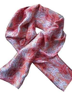 Eki Orleans silk printed scarf, African print, pink, fingerprint pattern
