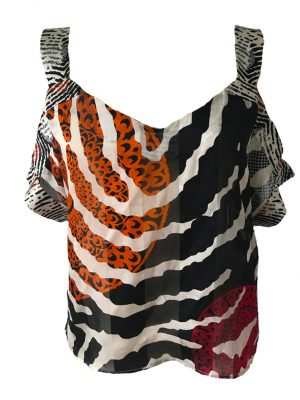 African print, black and orange silk blouse, straps, Eki silk