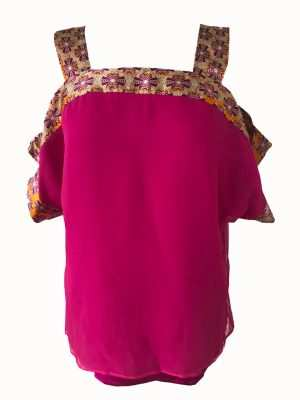 African printed pink chiffon blouse, Eki silk