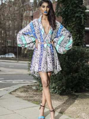 Silk african printed playsuit, blue, Eki silk