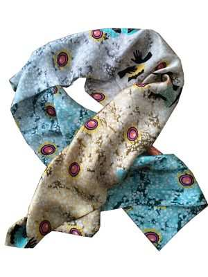 African print, luxury silk scarf, blue and cream, Eki silk