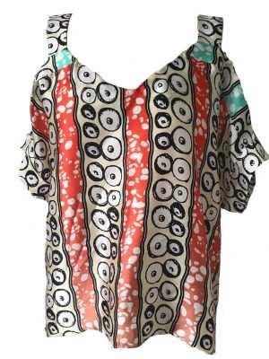 African print, octopus pattern, blouse, orange, white and green, Eki silk
