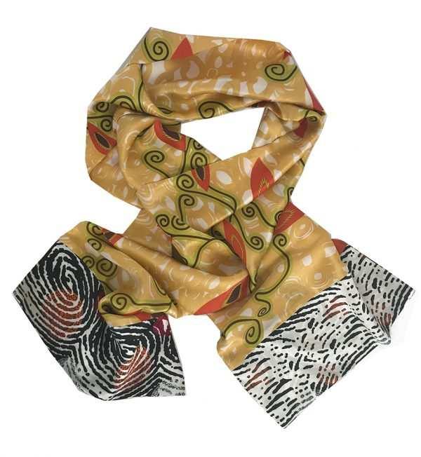 African print, yellow silk scarf, Eki silk