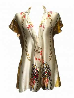 Silk african playsuit, Silk golden printed playsuit, Eki silk