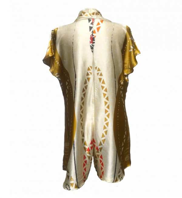 Silk african playsuit, Silk golden printed playsuit, Eki silk