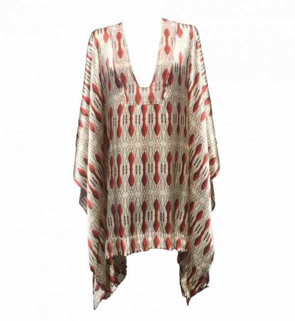red silk african kaftan, printed red kaftan, Eki silk