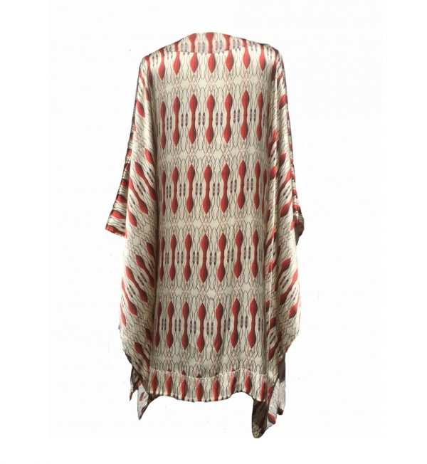 red silk kaftan, African silk kaftan, Eki silk