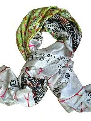 African silk scarf, Eki silk, green and white