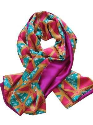African print silk scarves, fuschia, blue, shawl, Eki silk
