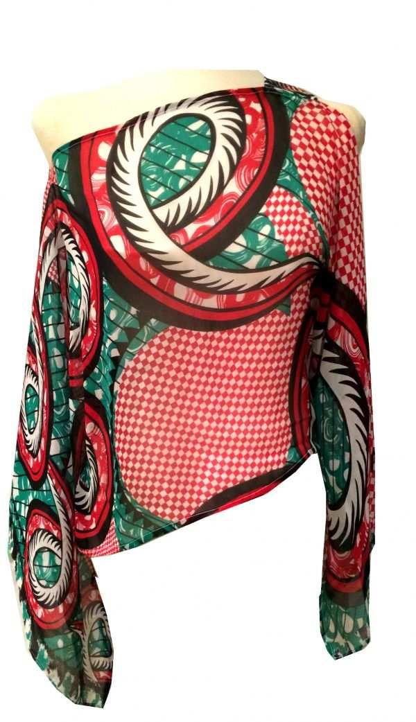 Sustainable, silk printed kaftan blouse