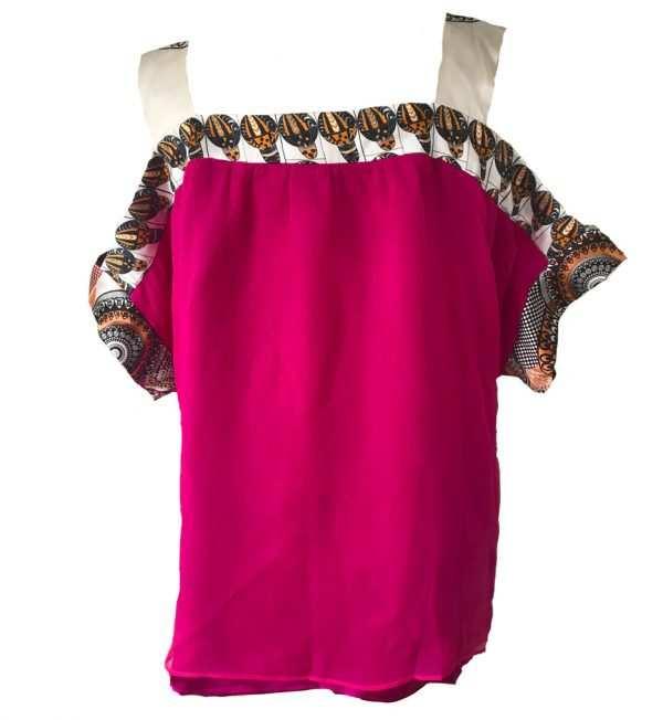 African print, pink chiffon blouse, strapped arms, Eki silk