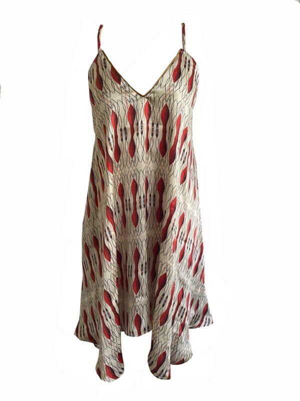 Strap red silk dress