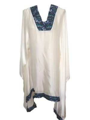 African print, white printed silk kaftan, v-neck, dark blue, Eki silk