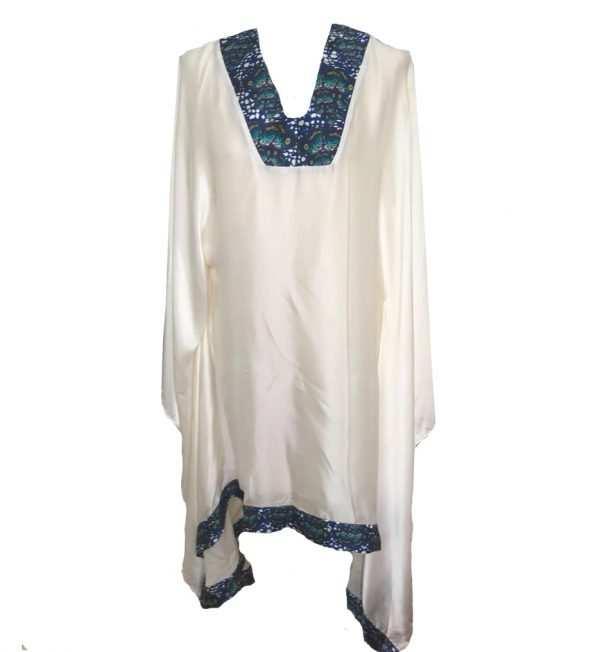 African print, white printed silk kaftan, v-neck, dark blue, Eki silk