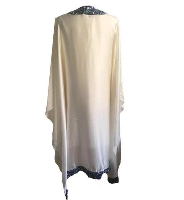 African print, white silk printed kaftan, high neck, Eki silk