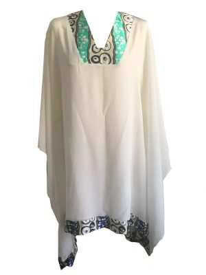 African luxury silk kaftan, v-neck, blue and white, Eki silk