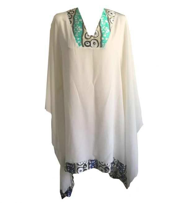 African luxury silk kaftan, v-neck, blue and white, Eki silk