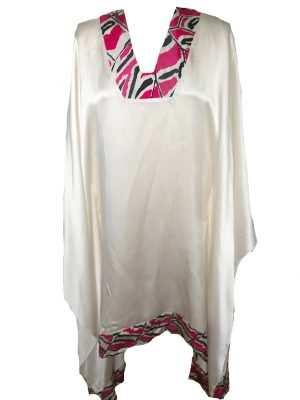 African print luxury silk kaftan, pink, v-neck, Eki silk