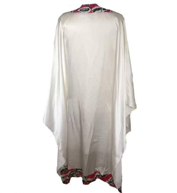 African print, white printed silk kaftan, high neck, Eki silk