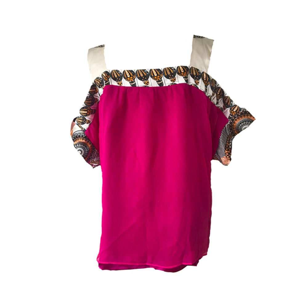 African print, pink chiffon blouse, Eki silk